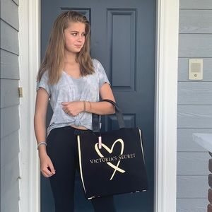 Victoria's Secret black and gold tote bag new NEW